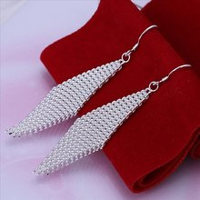 Free Shipping,CvBo Jewelry Factory Directly Selling, Silver Plated Earring Jewelry,WOVEN NET PENDANT Earring. E061(China (Mainland))