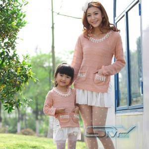 2015 Children Clothing Clothing Set Baby Brand Loaded Parent-child Autumn Korean Sweet Ladies Mother Daughter Installed Q038(China (Mainland))
