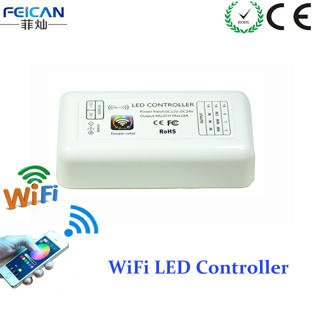 Mini RGB Wifi LED Controller DC12-24V 12A 3Channel RGB Controller By Android and IOS APP For SMD3528 5050 LED Strip Light(China (Mainland))