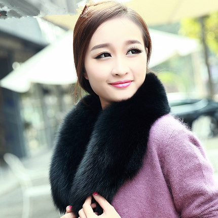 Super-large thickening the fox fur collar fur collar fox wool scarf fur collars clip black(China (Mainland))