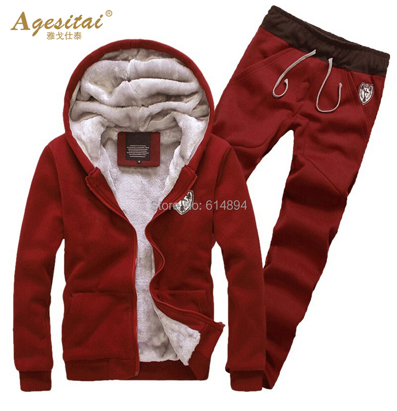 New Arrival 2016 Hot Sales Men Fashion Casual Hoodies Autumn Winter Plus Velvet Thickened Warm Hooded Fleece Suits Sports Set(China (Mainland))