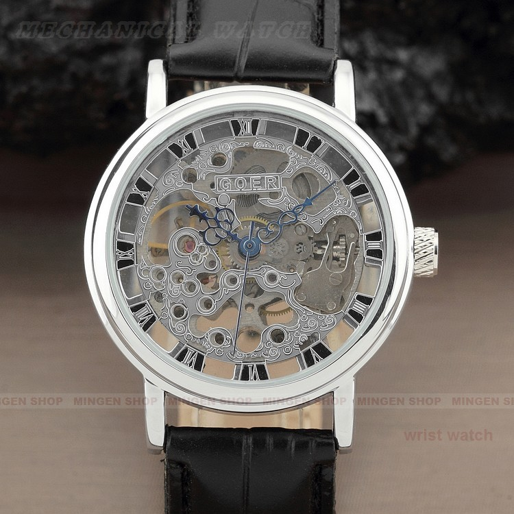 Round Skeleton Roman Numbers Dial Casual Leather Band Wind Mechanical Men Dress Watch - Joyce's Time House store