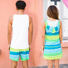 Song Riel summer loose sleeveless sports men and women couple cute striped pajamas nightgown tracksuit Yuyan