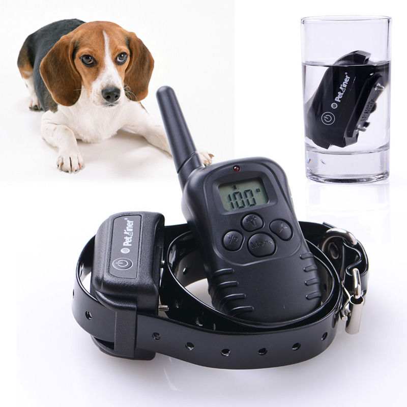 Free Shipping New 300M 100LV LCD Remote Control Electric Dog Training Collar For dogs No Bark Collar Rechargeable and Waterproof(China (Mainland))