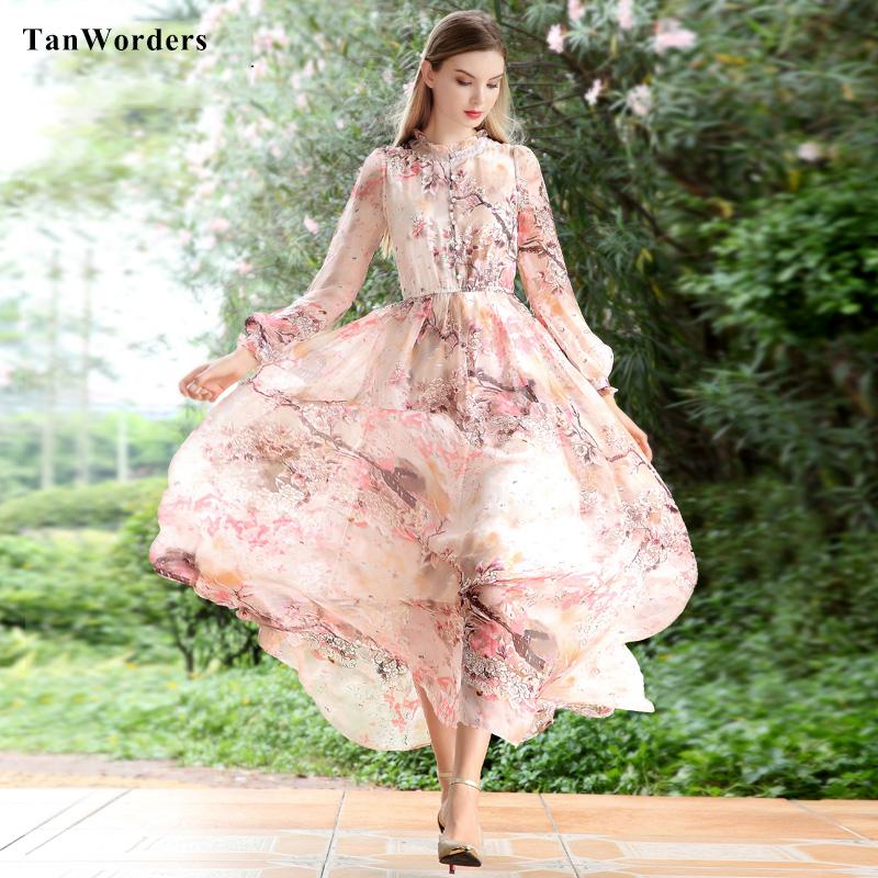 S - XXXL Good Quality Natural Silk Printed Long Sleeve Maxi Dress Women Spring Summer Slim Cut Elastic Wasit Dresses Plus Size(China (Mainland))