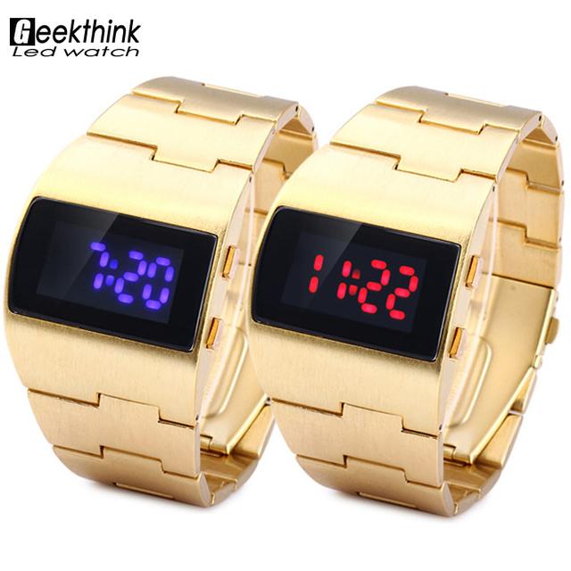 Мода роскошные золотые синий красный мужская одежда из светодиодов наручные часы творческие уникальный дизайн платья наручные часы Relogio Masculino подарок новый
