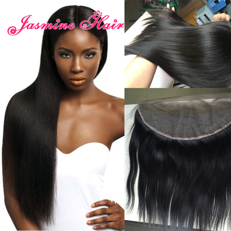 Indian Virgin hair 13*4 Straight lace frontal closure Unprocessed human hair Bleached knots lace frontals for black women(China (Mainland))