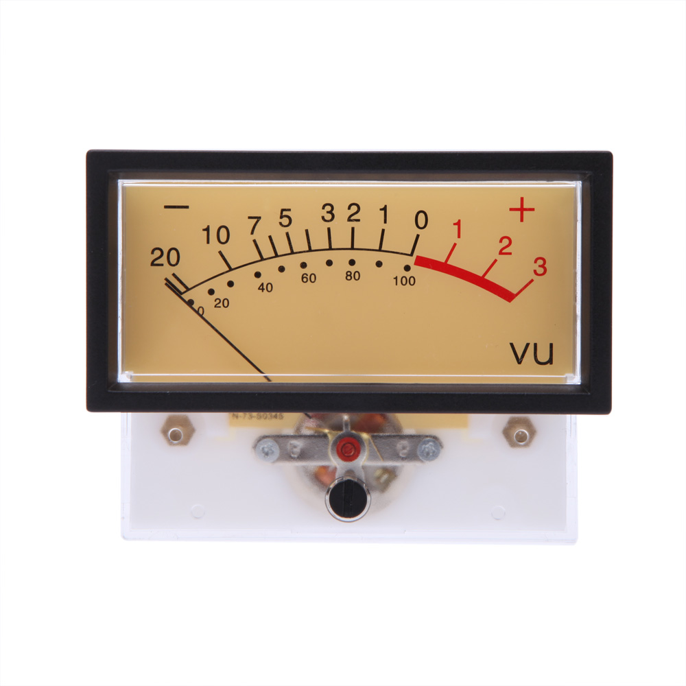 Volume Level Meter : Rectangular clear plastic shell audio amp panel vu volume