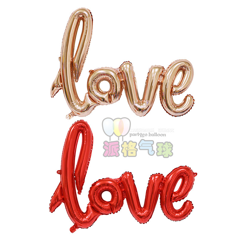 Linking Letter Balloons Ligatures LOVE Foil Balloons Wedding Decoration Ballons Romantic Valentine's Day letter Love globos(China (Mainland))