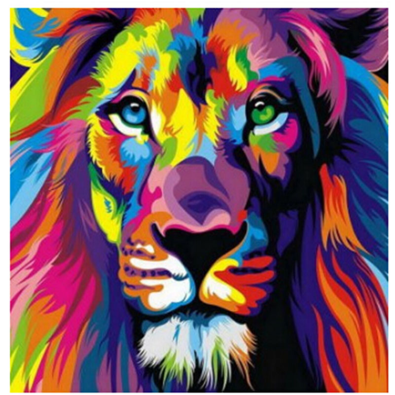 Needlework Full Drill Colorful Diamond Embroidery Lion Head Drawings 5D Diamond Painting Cross-Sittch Picutre Of China Mosaic(China (Mainland))