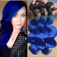 7A Peruvian Virgin Hair Body Wave 2 Tone Ombre 1b/Blue Hair Extensions Unprocessed 3 Bundles Peruvian Body Wave