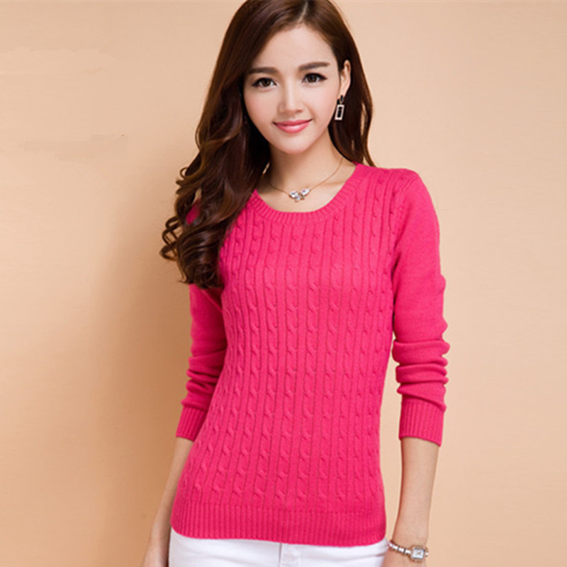 Autumn Winter 2015 NEW Twisted Women Cashmere Sweater Fashion Outwear Knitted Pullover Casual Female O-Neck Knitwear Jumper(China (Mainland))