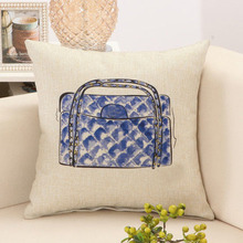 Fashion Blue Handbags Printed Home Decorative Sofa Cushion Cover Throw Pillow Case 18″ Vintage Cotton Linen Square Pillow Cover