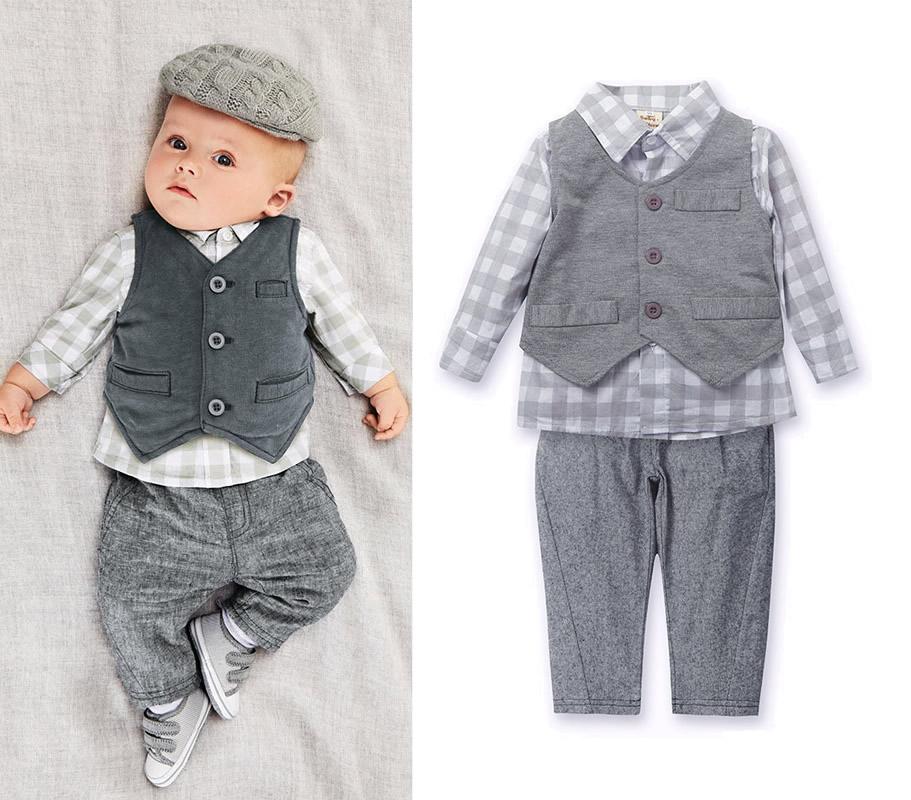 3pcs Toddler Kids Infant Baby Boy Gentleman Vest+Shirt+Pants Plaids Top Trousers Clothing Set Ropa de Bebe(China (Mainland))