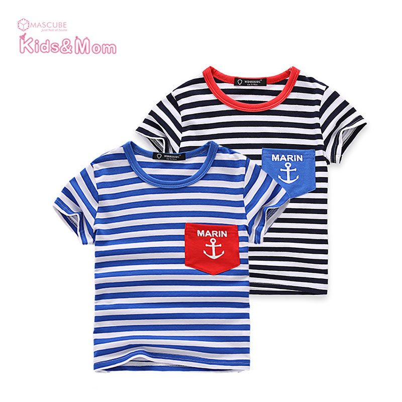 New Summer Style Cotton-polyester Comfortable Soft Children T-Shirts Kids Clothing Tees Baby Boy Striped Letters Tops Kids(China (Mainland))
