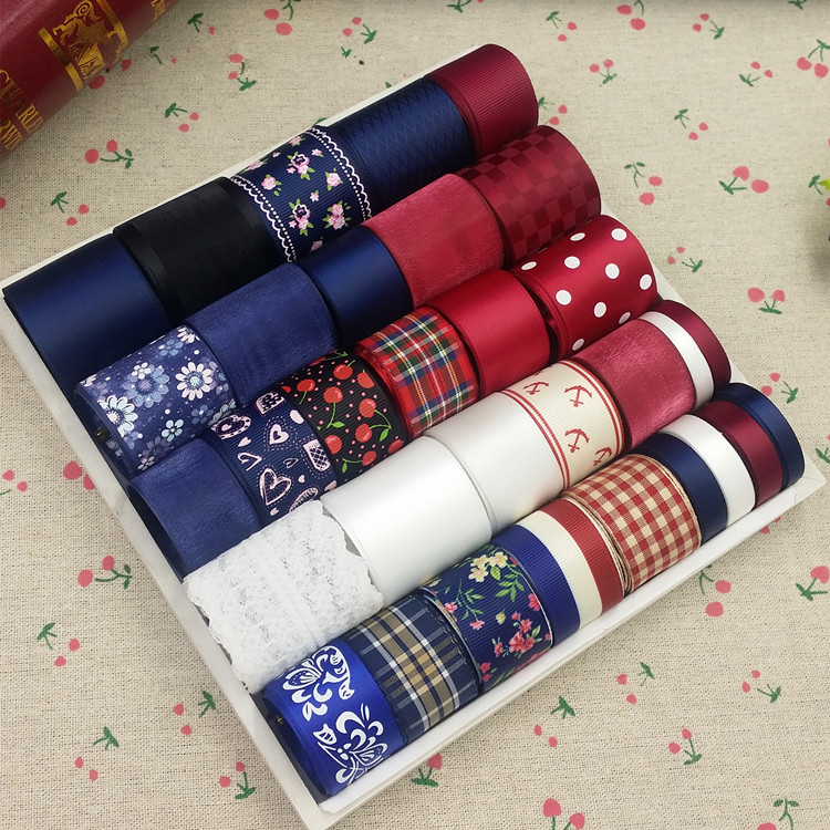Korean College style Printed Grosgrain Satin Ribbon Set Mixed 32 meters Decoration Tapes DIY gril's Hairbow Accessories(China (Mainland))