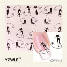YZWLE Beleza Gato Decalque de Transferência da Água Adesivos de Unhas Beleza Gel Maquiagem tentação Gato Dos Desenhos Animados Querida Animação