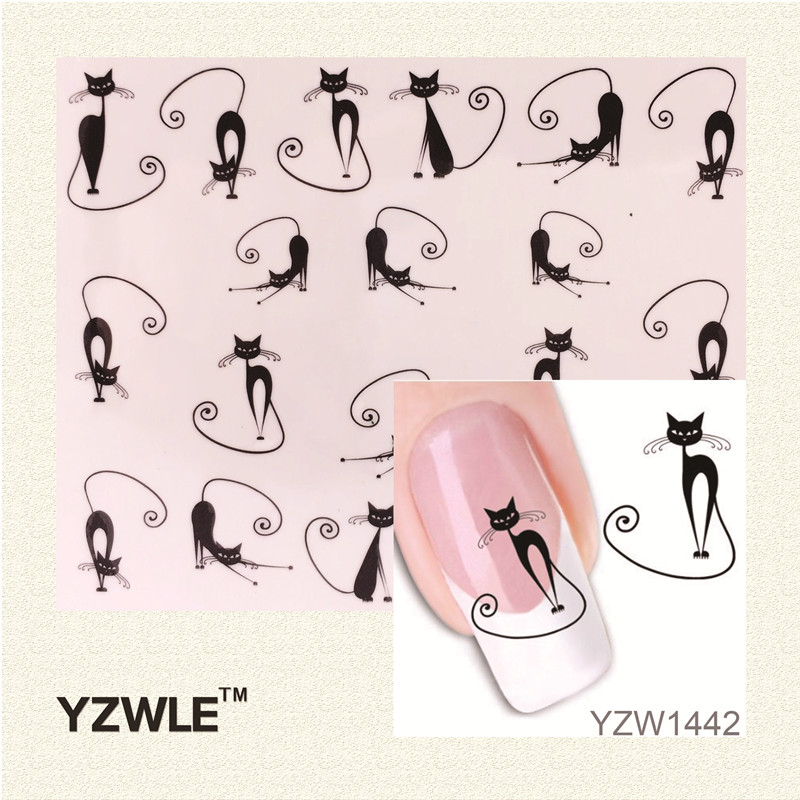 YZWLE Loveliness Cat Water Transfer Nail Stickers Gel Beauty Decal Makeup temptation Cartoon Cat Sweetheart Animation(China (Mainland))