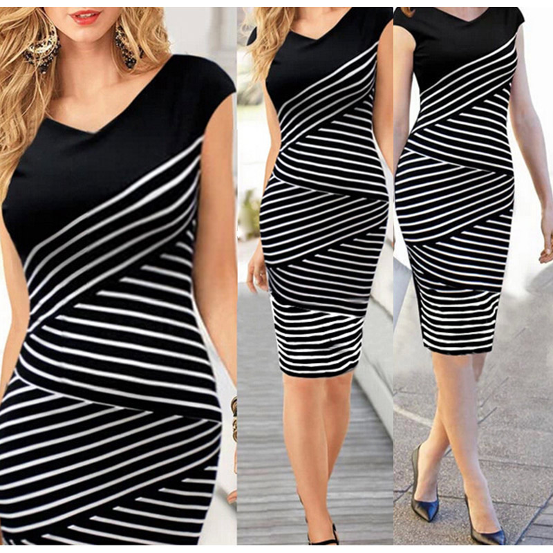 Fashion Design 2016 Bodycon Casual Short Sleeve Top Striped Pencil Midi Dresses Girl Women Summer Dress(China (Mainland))
