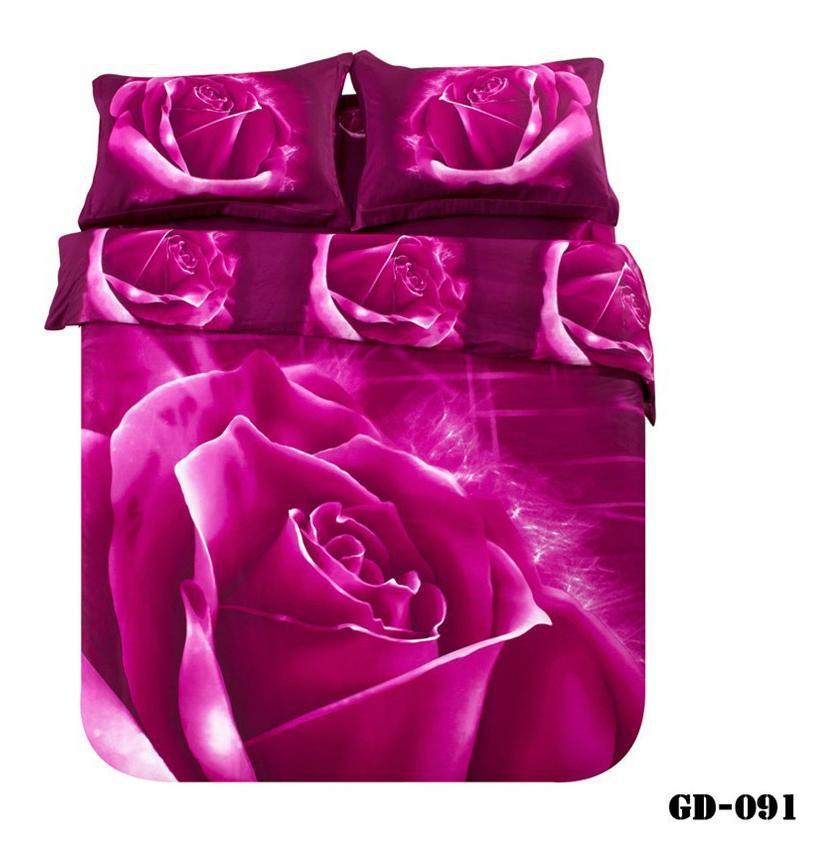 3 piece / set 100% Cotton Floral print Deep dark purple 3d bedclothes purple duvet cover queen bedding sets king size(China (Mainland))
