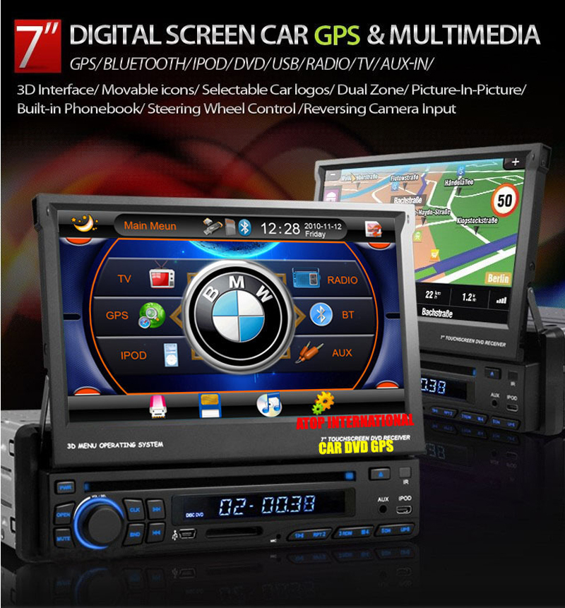 """One 1 Din 7"""" Car DVD Player Multi-media High Definition with GPS Navigation BlueTooth Radio AUX IPOD Free 8GB Map(China (Mainland))"""