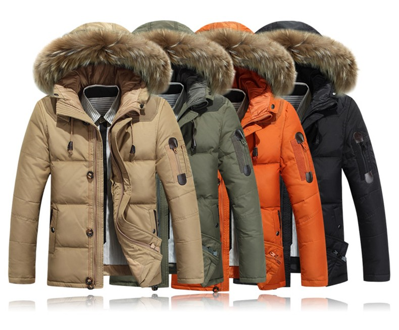 Down jacket men faux fur coat Casual Men Fur Hood Winter Jacket Windproof Thick Winter Brand-clothing Outdoor Men Parkas 8232