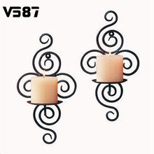 1Pcs Wholesale Handmade Iron Hanging Wall Sconce Candle Holder Shelf Furnishing Articles(China (Mainland))