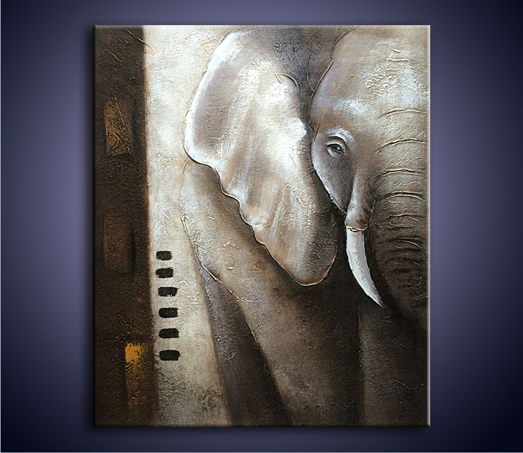 100% Pure Hand-painted Oil Painting Canvas On Abstract Acrylic Grey elephants Painting Modern home Decoration Wall Art picture(China (Mainland))
