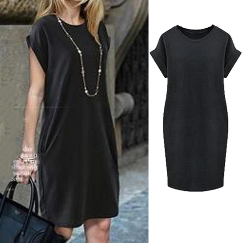 2015 New Fashion Black Gray Summer Dress Women Round Neck Short Sleeve Solid Color Loose Casual #7 - U A Beautiful store