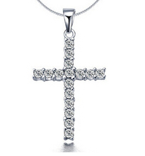 x307   2016 NEW  Engagement Zircon CRYSTAL Wedding WOMEN lady Cross necklace hot sale(China (Mainland))
