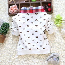 2015 spring autumn baby boy long sleeve t shirts Little bear cartoon plaid lapel cotton boy