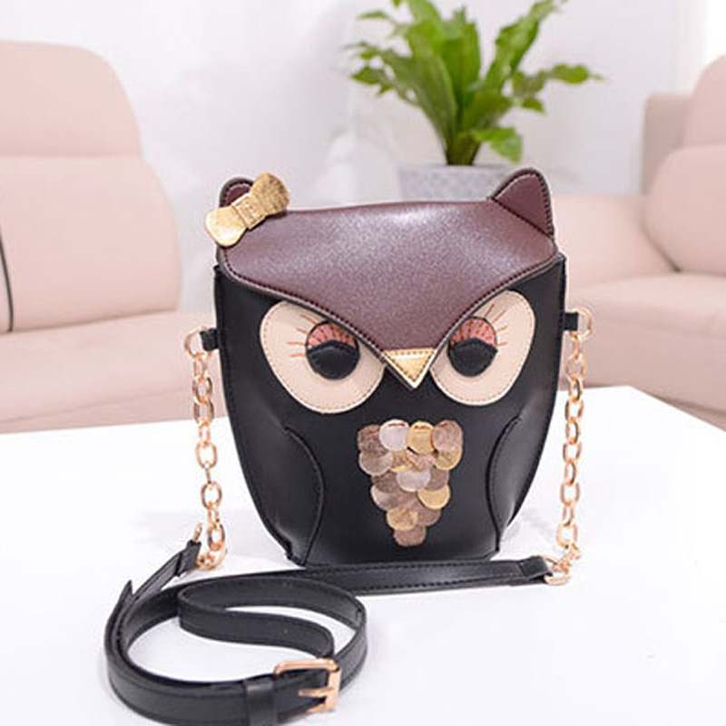 1pc Owl Women Messenger Bags Brown PU Leather Bag Ladies Vintage Shoulder Pack Bag -- BIA115 PM15 Wholesale(China (Mainland))