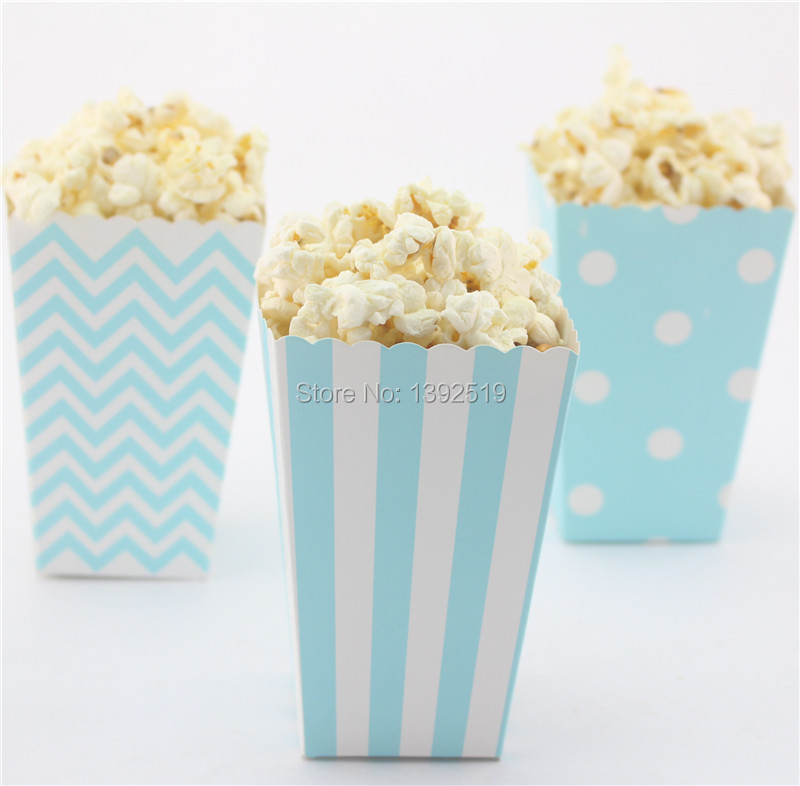 Free Ship 72pcs Blue Paper Boxes wedding decoration candy popcorn Box 3 Mix Styles Stripe Polka Dot Chevron 6 Colors to choose(China (Mainland))