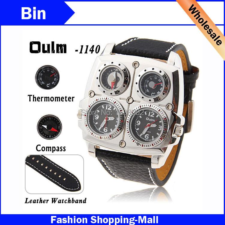 Luxury Brand Olum 1140 Quartz Watches Men Dual Time Zone Leather Strap Sports Watch Mens Military Wristwatches Big Steel Case(China (Mainland))