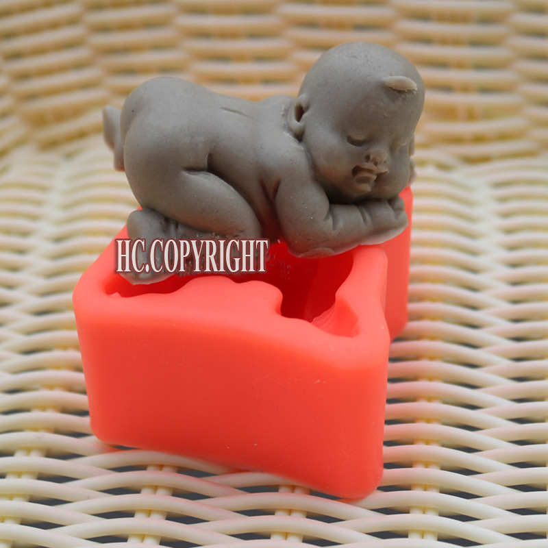 Silicone Cake Mold Super Cute Lovely Sleeping New Born Baby Shape Fondant Embossed Decor Sugarcraft DIY Mold Tools(China (Mainland))