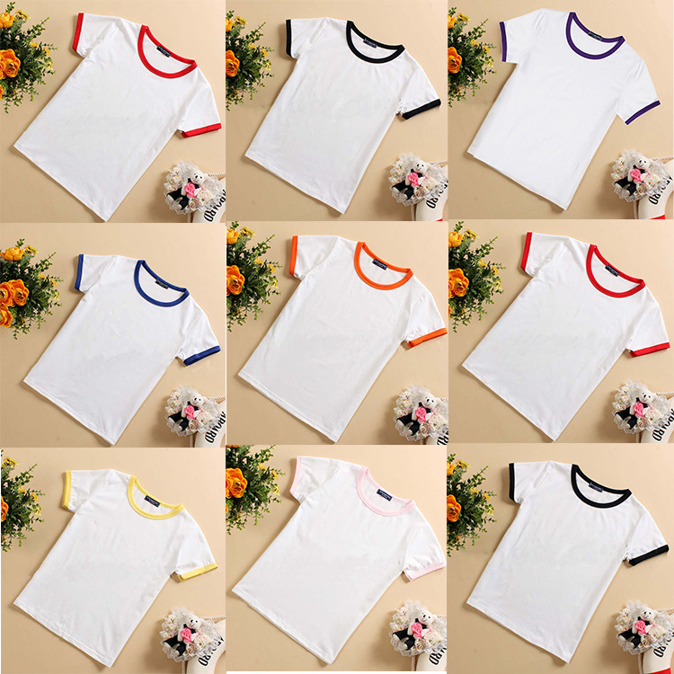 NEW TRENDS 2015 Kids Elastic Cotton Tee Plain White T-shirt With color edge Children Blank T-shirt(China (Mainland))