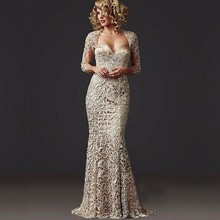 Vestido De Fiesta 2015 Vintage Lace Long Evening Dress Sexy V Neck Backless Sleeve Mermaid Evening Gowns Formal Female Dresses(China (Mainland))