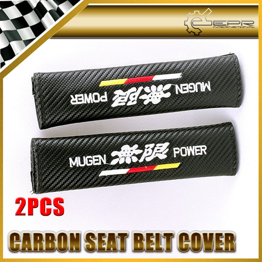 New 2pcs Mugen Carbon Seat Belt Cover Shoulder Pad FOR HONDA FOR ACCORD JAZZ FIT CRV(China (Mainland))