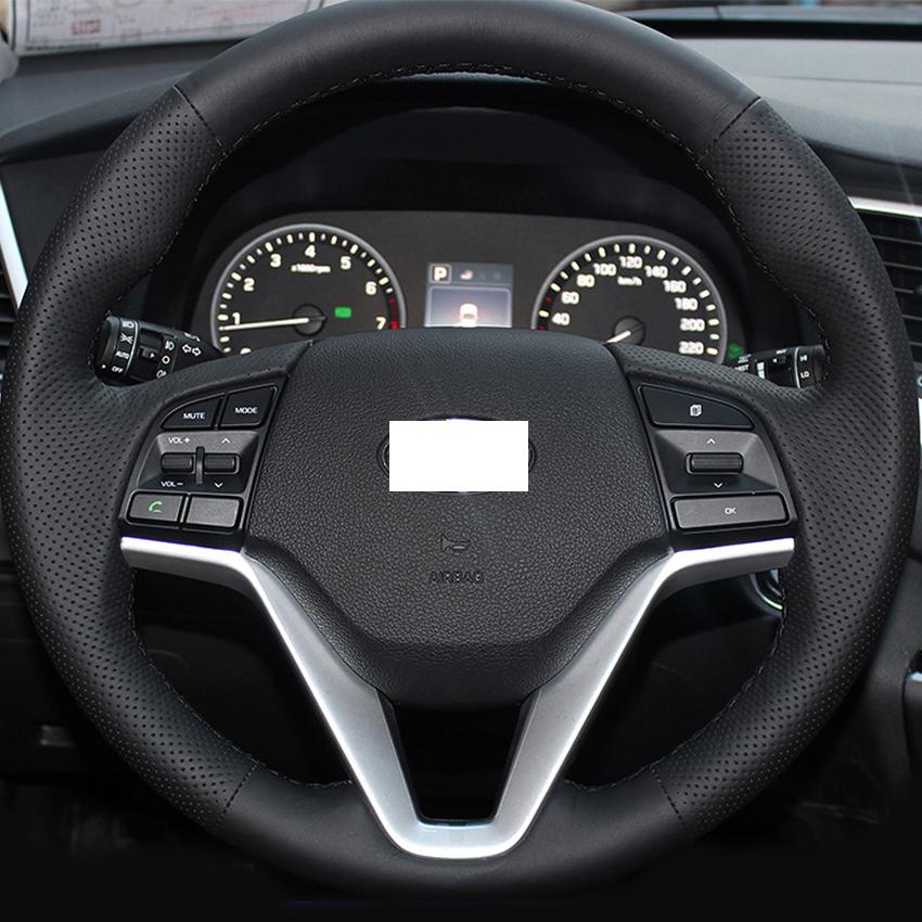 XuJi Black Genuine Leather Steering Wheel Cover for Hyundai Tucson 2015 2016(China (Mainland))