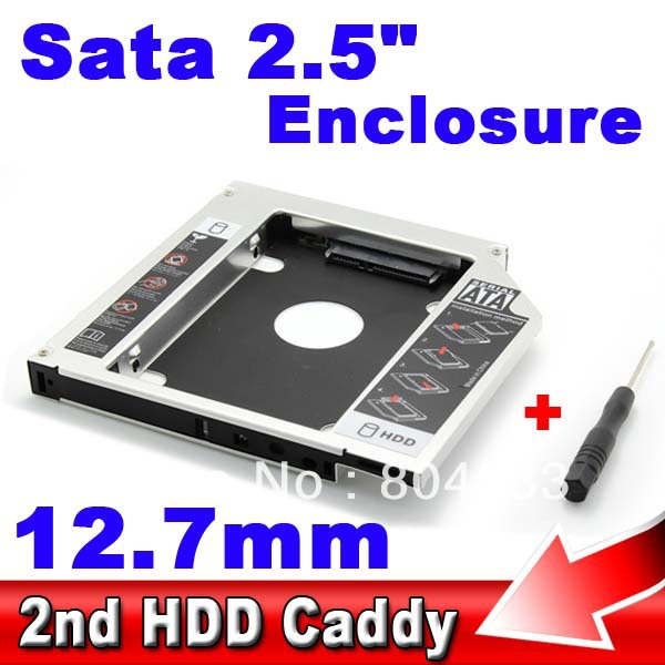 Universal SSD HDD HD Hard Disk Driver External 2nd Caddy SATA 3.0 Case Enclosure for 12.7mm CD DVD ROM Optical Bay for Notebook(China (Mainland))