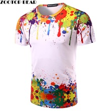 Buy Splashed Paint Tops Summer T shirt Men Short Sleeve Novelty Printed 3D T-shirts 2017 Personality Round Neck Tees ZOOTOP BEAR for $8.99 in AliExpress store