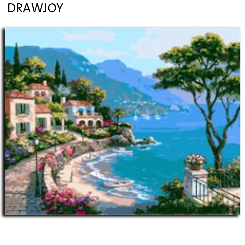 DRAWJOY Frameless Picture Painting By Numbers Home Decor DIY Canvas Oil Painting Landscape Mediterranean Sea Pattern 40x50cm(China (Mainland))