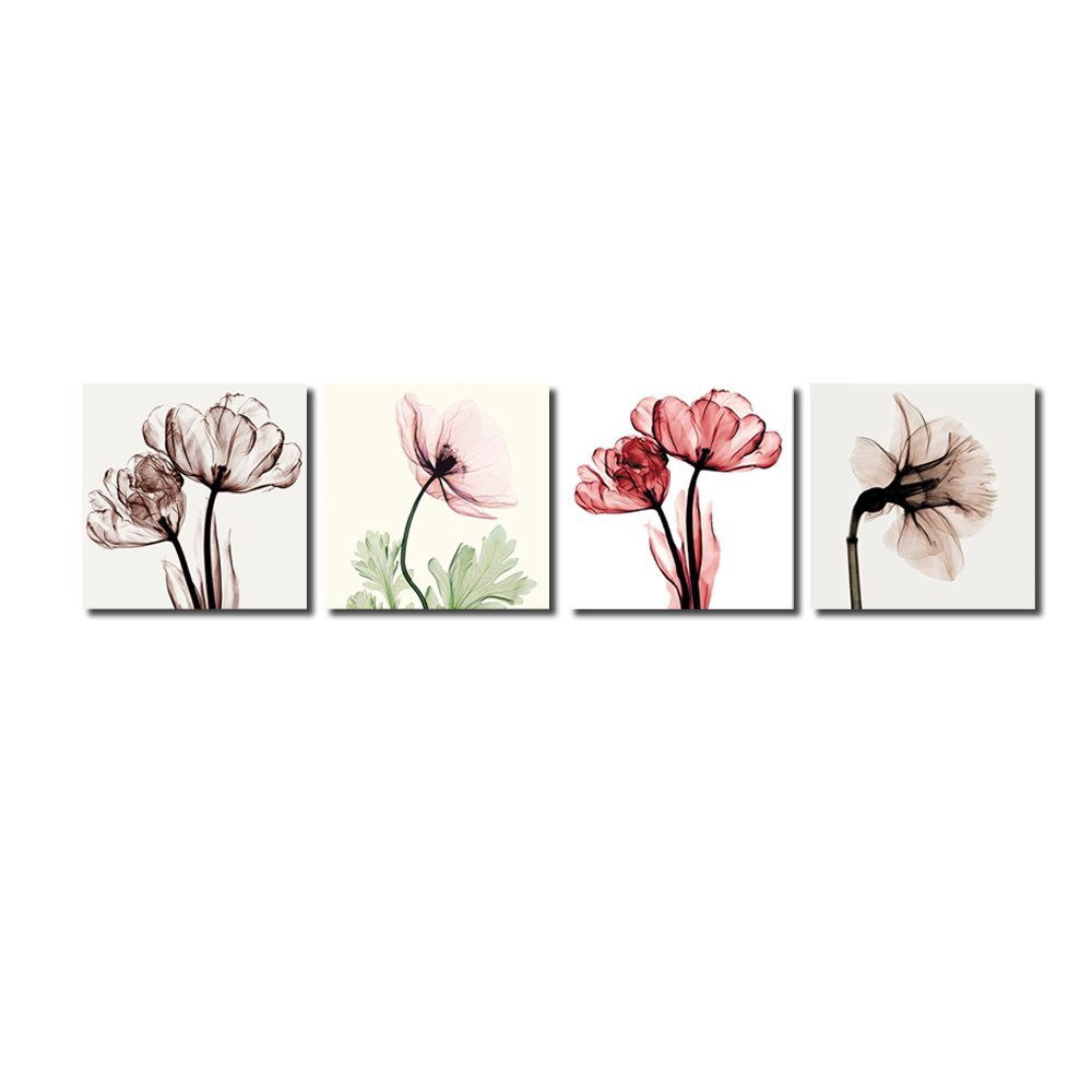 BANMU 4pcs Modern No Framed Artwork Abstract Giclee Prints Floral Paintings Pictures to Photo on Canvas Print for Wall Decor