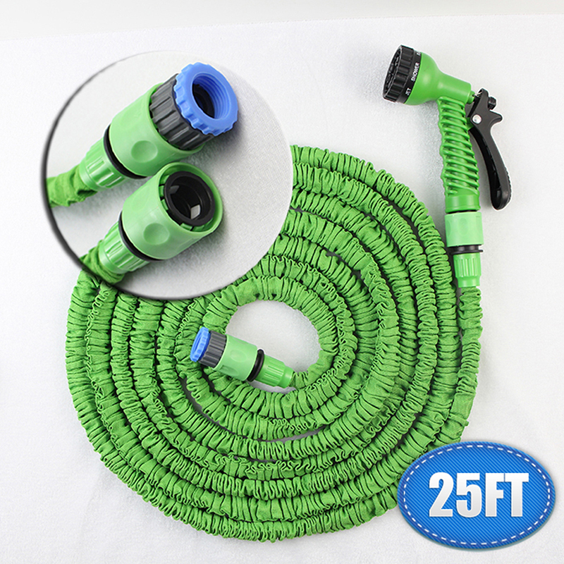 New expandable garden hose magic 1/4 inch green Reels gun rubber water horse Plastic Connector pipe water valve 25FT manguera(China (Mainland))