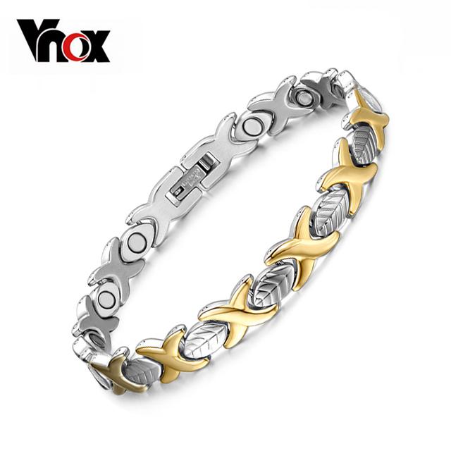 Мода позолоченный здоровье магнит браслет для женщин титана стали ювелирных изделий ...