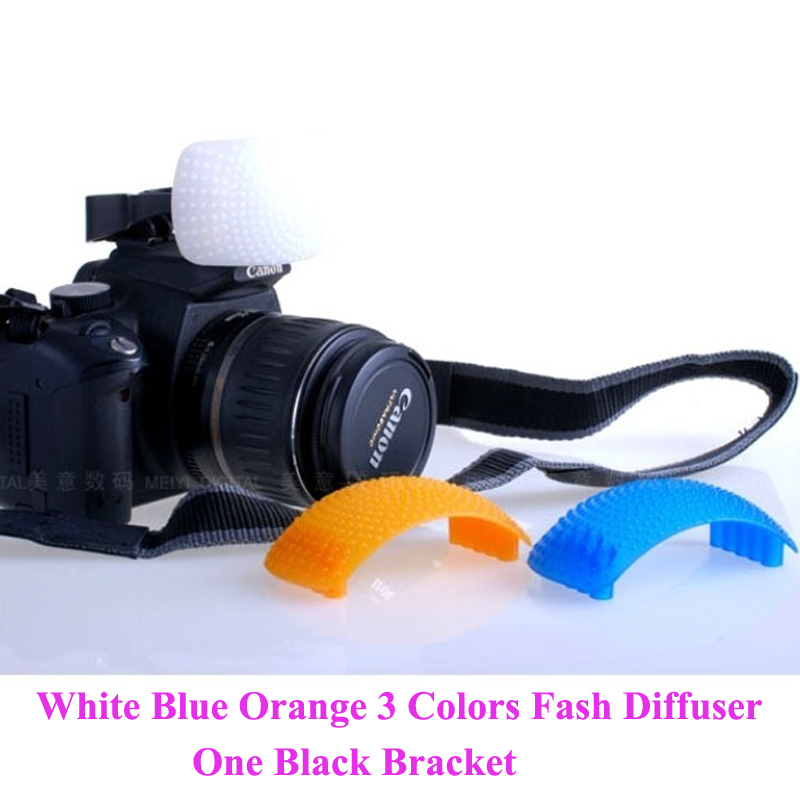 Free Shipping New Blister Package 3pcs Pop up Flash Diffuser with one Bracket for Canon Nikon Pentax(China (Mainland))