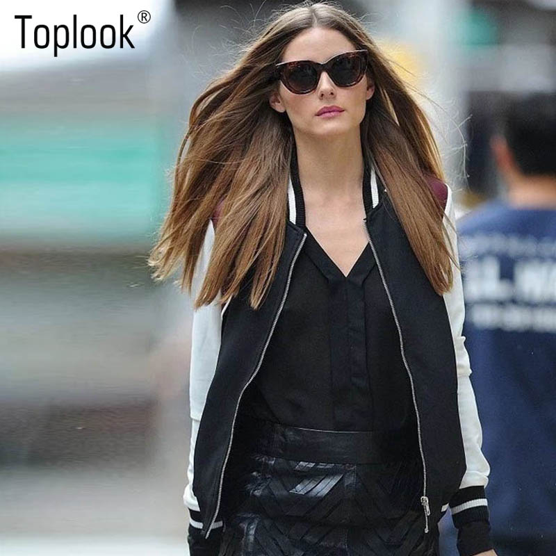 Toplook American Retro Spell Color Raglan Sleeve Bomber Jacket Women Fall 2016 Both Sides Wearing Aviator Satin Baseball Outwear(China (Mainland))