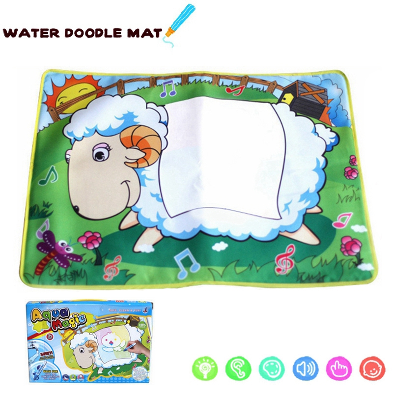 Cute Little Goat Aquadoodle Color Water Drawing Play Mat with 2 Pen/1 Doodle Mat/6 EVA Templates Children Doodle Drawing(China (Mainland))