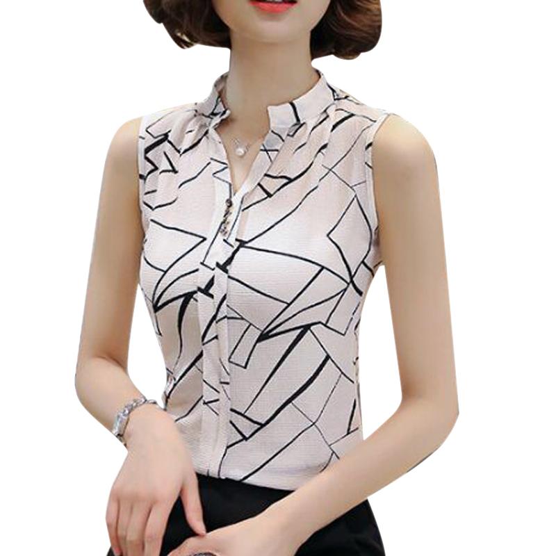 New Summer Chiffon Blouse Women Printed Sleeveless Blouse White Striped Blouses Shirts Female Office Shirt(China (Mainland))