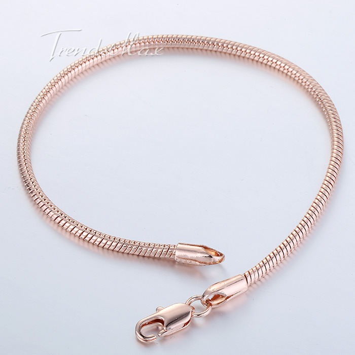 2mm 20 5cm Round Snake Bone Omega Mens Boys Chain Bracelet 18K Rose Gold Filled Bracelet